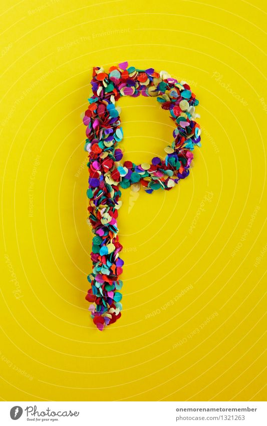 P Art Work of art Esthetic Party Paper Break Places Card Letters (alphabet) Typography Yellow Design Creativity Design studio Confetti Colour photo