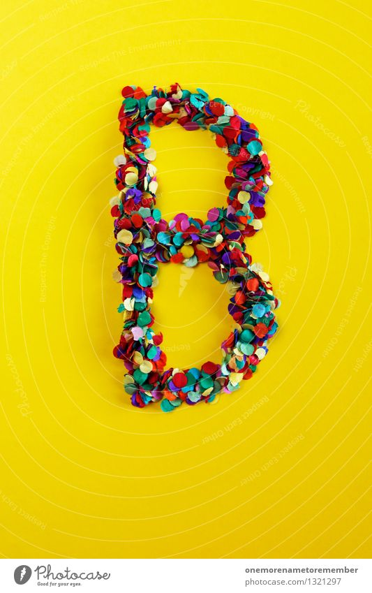 B Art Esthetic b Berlin Letters (alphabet) Typography Yellow Creativity Design Many Confetti Mosaic Colour photo Multicoloured Interior shot Experimental