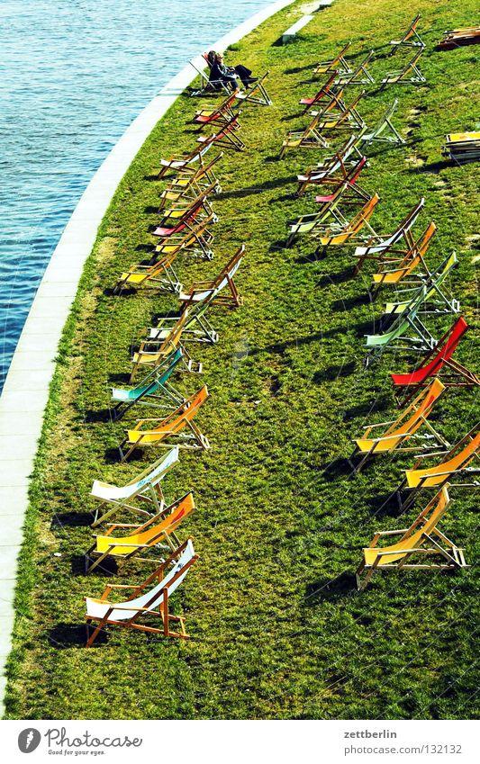 Spree beach Beach Calm Deckchair Empty Meadow Grass Berlin city beach Sewer Coast Relaxation Lawn