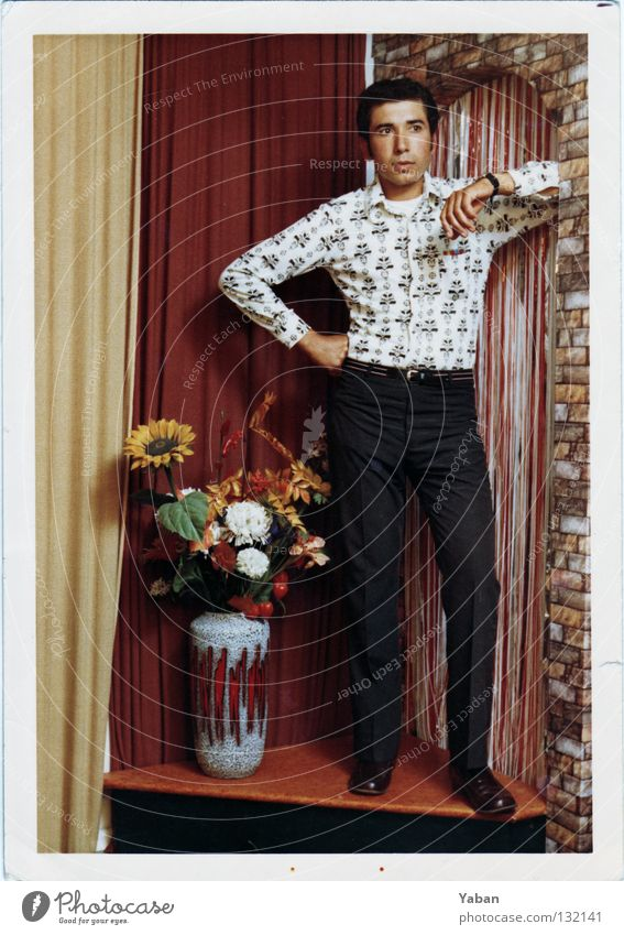 Man Beautiful Guy Retro Posture Decoration Workshop Drape Hero Chic Turkey Sixties Dappled Gaudy Vase
