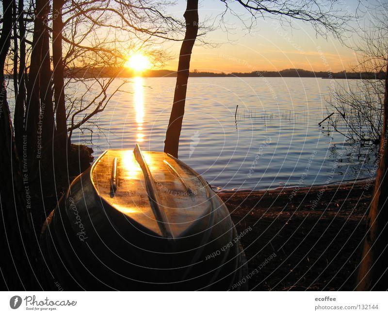 sundown Sunset Dusk Romance Watercraft Calm Lakeside Interior lake Dreamland Vacation & Travel Celestial bodies and the universe Joy fishing spot fishing boat