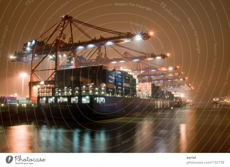 Water Lamp Work and employment Watercraft Power Industry Harbour Steel Crane Mystic Container Goods Consign Control desk Night work Heavy industry