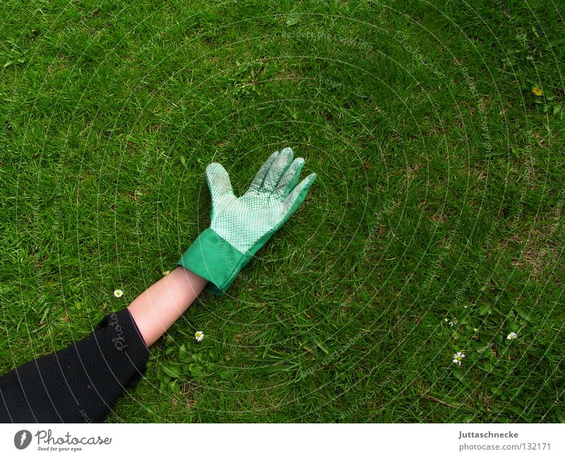 After work you should go to ruh´n Hand Gloves Work gloves Meadow Grass Gardener Leisure and hobbies Work and employment Gardening Break Relaxation Rest Calm