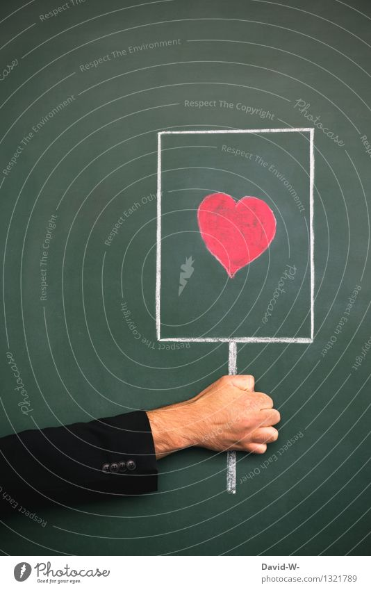 love message Happy Valentine's Day Blackboard Human being Masculine Family & Relations Life Arm Art Communicate Love Red Happiness Spring fever Romance