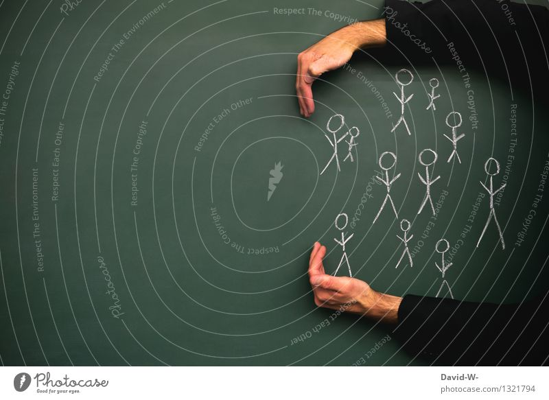 Human being Man Far-off places Adults Life Lifestyle Group Together Masculine Arm Threat Help Protection Safety Attachment Blackboard
