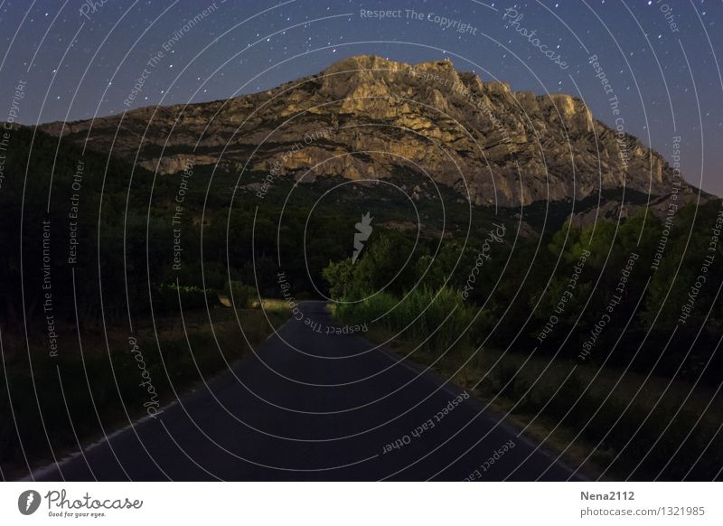 Sainte Victoire by night IV Environment Nature Landscape Elements Earth Air Sky Cloudless sky Night sky Stars Climate Beautiful weather Mountain Esthetic
