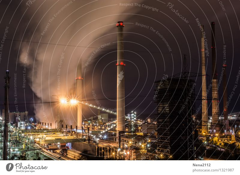 Night shift IV Technology Energy industry Energy crisis Industry Industrial Photography Environment Air Work and employment Dark Protection Stovepipe Lighting