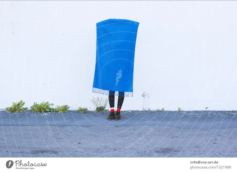 Human being Blue Relaxation Wall (building) Feminine Wall (barrier) Lifestyle Fashion Feet Elegant Footwear Mysterious Cloth Hang Stockings Cuddly