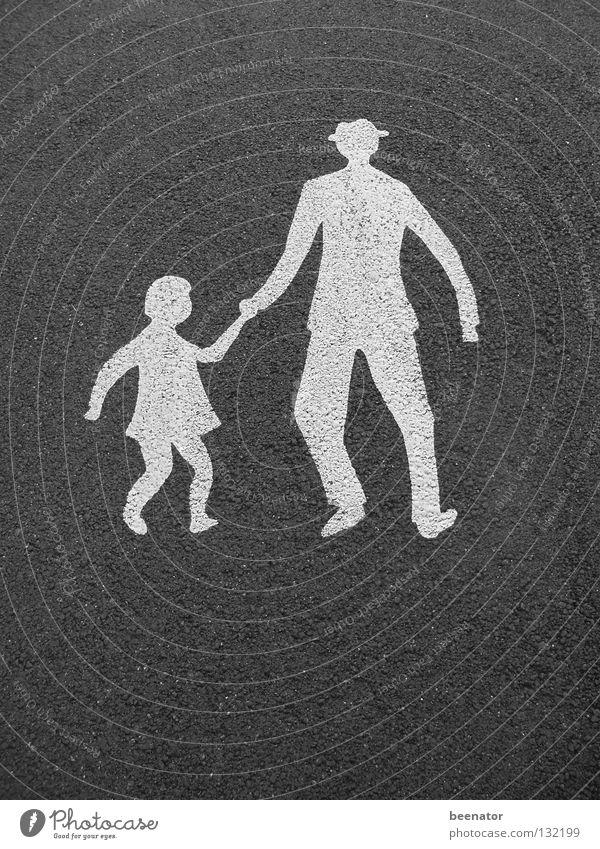 Parental Advisory Child Father Daughter Hold hands Road safety Zebra crossing Asphalt White Black Going Pedestrian Traffic infrastructure Warning label