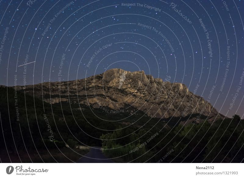 Sainte Victoire by night II Environment Nature Landscape Earth Sky Cloudless sky Night sky Stars Beautiful weather Mountain Famousness Dark Fantastic Infinity