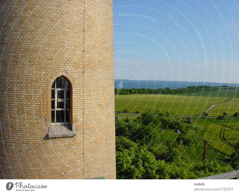 Ocean Summer Beach Far-off places Window Stone Wall (barrier) Landscape Coast Horizon Vantage point Tower Historic Baltic Sea North Sea