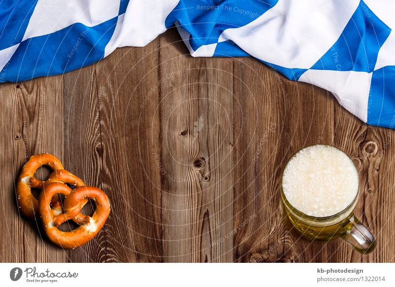 Bavarian flag on wooden board as a background Nutrition Beverage Glass Feasts & Celebrations Oktoberfest Flag Eating Vacation & Travel beer drinking invitation