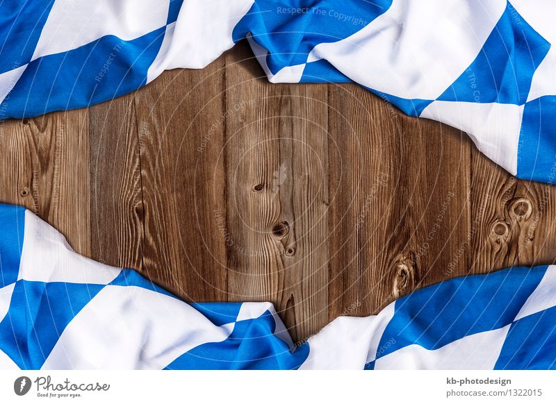 Bavarian flag on wooden board as a background Feasts & Celebrations Oktoberfest Flag Eating Vacation & Travel Tourism Tradition beer drinking invitation Text