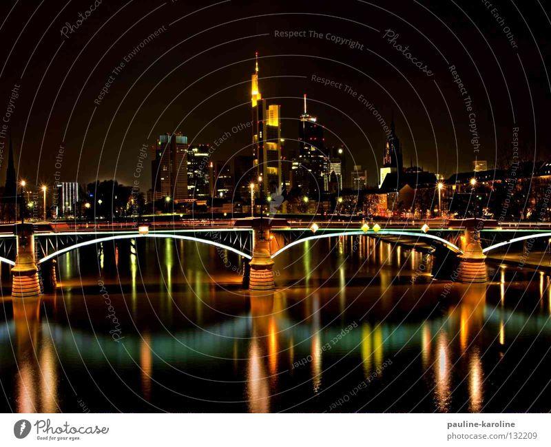Frankfurt Lights Night Dark Skyline Bridge Lighting River Reflection
