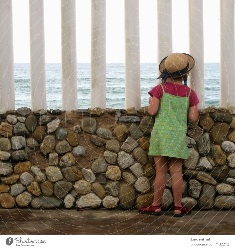 Fantastic Sea III Ocean Cliff Foam Looking Girl Child Crouch Perspective Marvel Enthusiasm spellbound