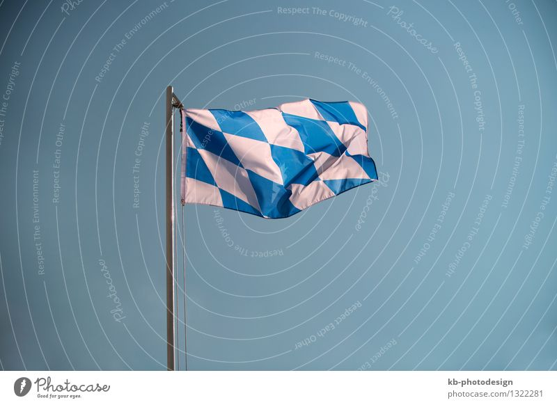 Bavarian flag in front of a blue sky Vacation & Travel Oktoberfest Company Wind Flag Tourism Tradition German bavarian tourists germans traditional white