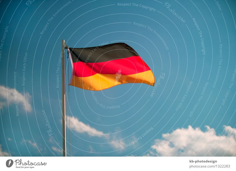 Germany flag in front of a blue sky Vacation & Travel Oktoberfest Business Wind Flag Tourism Attachment Germany Flag world mushroom germans black red Gold