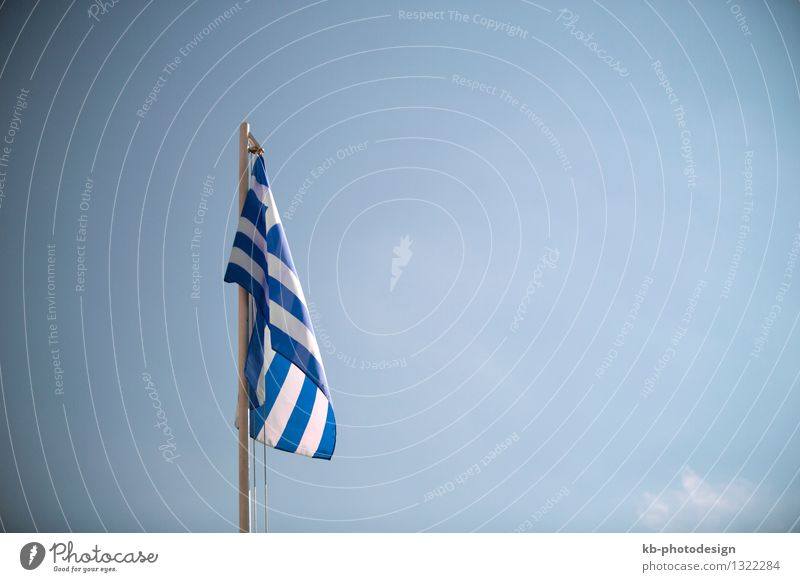 Greece flag in front of a blue sky Vacation & Travel Tourism Business Wind Flag rescue help greek Nationalities and ethnicity national flag soccer olympic games