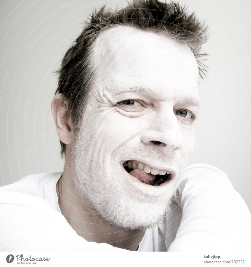 Human being Man White Animal Colour Face Eyes Hair and hairstyles Laughter Bright Arm Nose Crazy Teeth Lips Mask