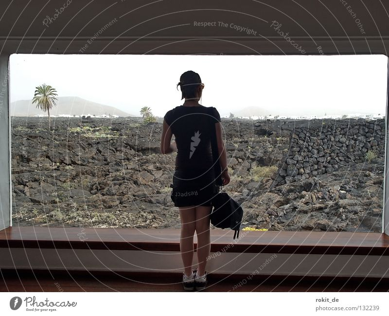 prospect Window Looking Lava Outbreak Middle House (Residential Structure) Palm tree Lanzarote Woman Young woman Vantage point To enjoy Appearance Joy Bag Black