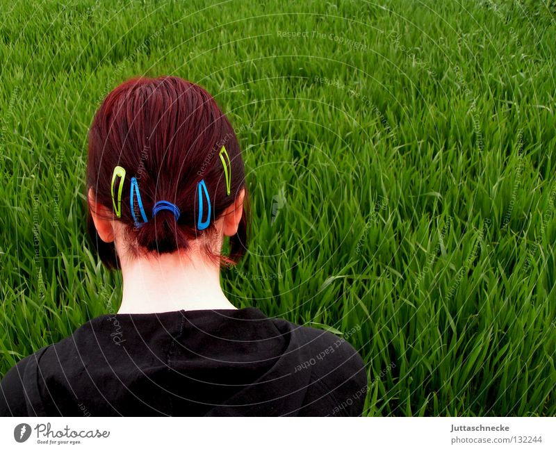 Woman Nature Green Red Black Meadow Grass Spring Hair and hairstyles Think Field Ear Peace Thought Neck Doomed