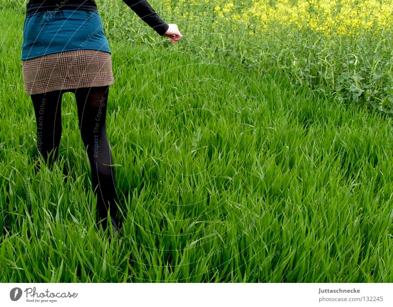 Woman Nature Green Black Meadow Grass Spring Field Going Walking Running Peace Escape Doomed Human being Canola
