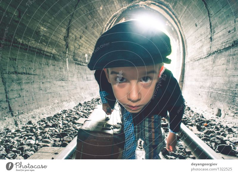 Child walking on railway road with vintage siutcase Beautiful Vacation & Travel Trip Human being Boy (child) Woman Adults Transport Street Lanes & trails