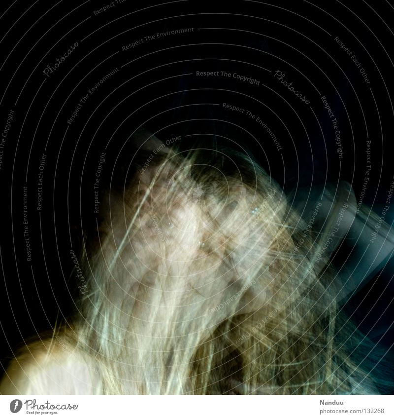 Human being Woman Calm Face Dark Emotions Movement Hair and hairstyles Head Dream Dance Blonde Arm Touch Near Frozen