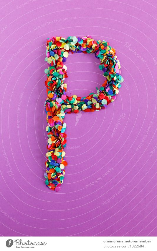 P Art Work of art Esthetic Parking Letters (alphabet) Typography Alphabetical Violet Creativity Idea Design Multicoloured Confetti Colour photo Interior shot