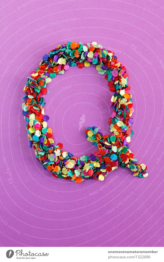 Q Art Work of art Esthetic q Letters (alphabet) Typography Alphabetical Violet Many Point Mosaic Confetti Home-made Design Creativity Idea Colour photo