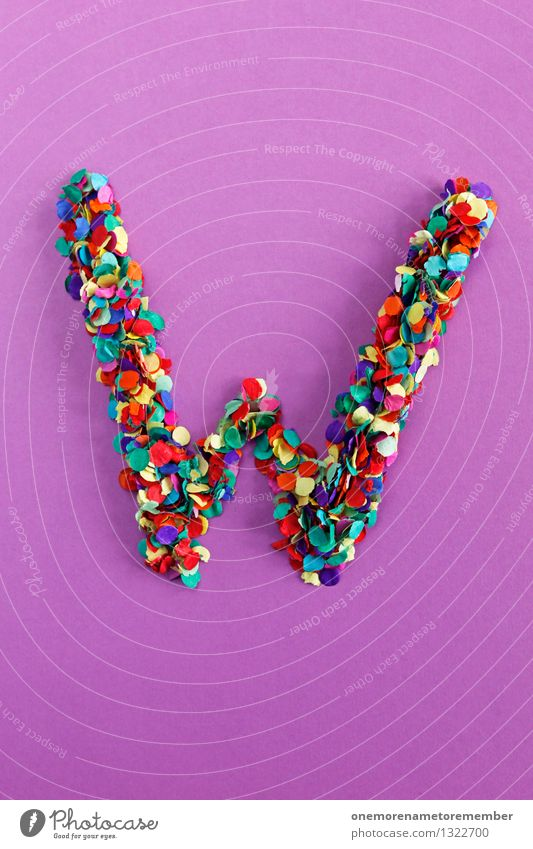 W Art Work of art Esthetic Letters (alphabet) Typography Violet Creativity Design Design studio Design museum Fashioned Many Mosaic Confetti Colour photo