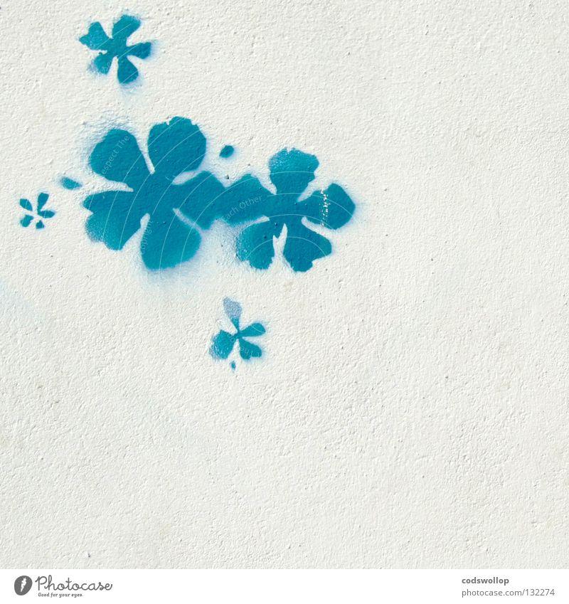 Blue White Summer Flower Graffiti Wall (building) Wall (barrier) Art Facade Design Sign Culture Youth culture Exotic Mural painting Street art