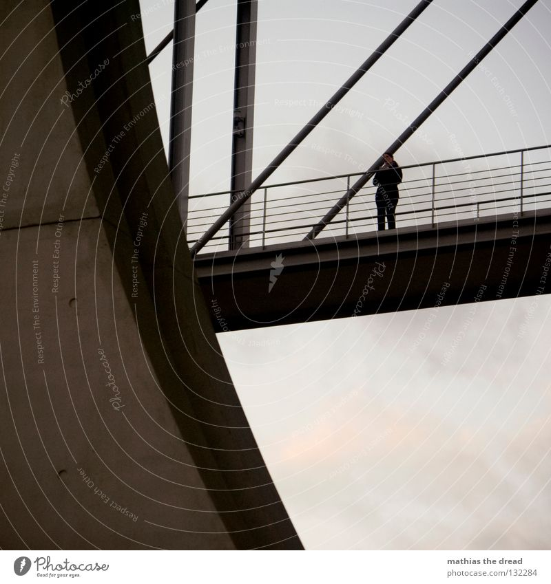 Woman Sky Beautiful Loneliness Dark Cold Above Berlin Gray Stone Wind Wait Concrete Tall Search Bridge