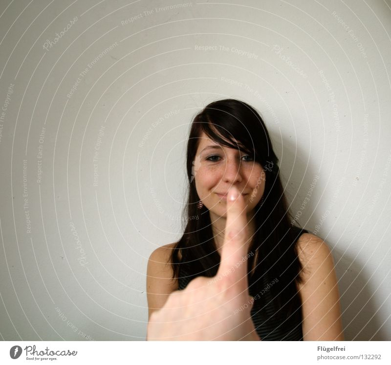 Woman Human being Hand Calm Adults Small Laughter Funny Fingers Lips Mouth Touch Concentrate Grinning Bans Gesture