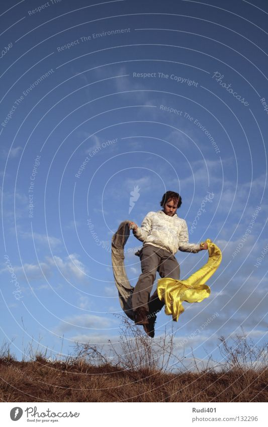 kong-fu Chinese martial art Yellow Gray Jump Movement Hop Worm's-eye view Hover Joy Playing Rag Dance Sky Flying