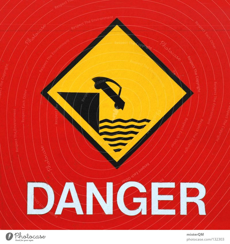 You never know. Dangerous Signage Urban traffic regulations Red Yellow Black Ocean Slope Deep Risk Cliff Emergency Insecure Calamitous English Situation Park