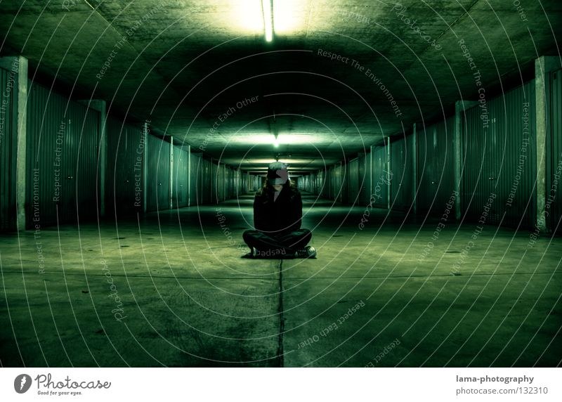 Human being Green Black Street Dark Lamp Dream Moody Lighting Time Room Fear Exceptional Wait Sit Mouth