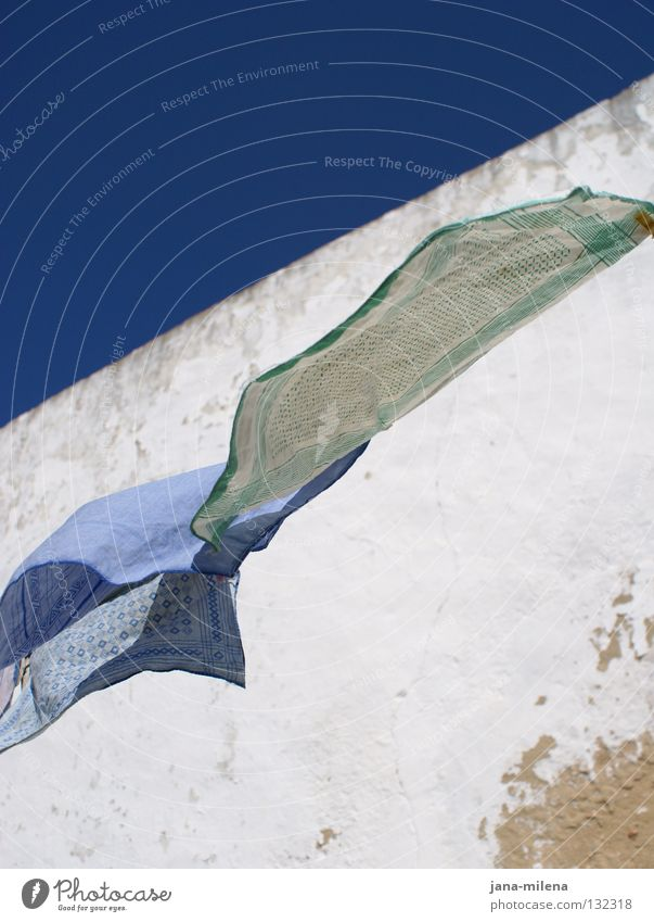 a light breeze Breeze Judder Air Wall (barrier) Wall (building) Handkerchief Cloth Checkered Striped Pattern Sky blue Portugal Vacation & Travel Relaxation