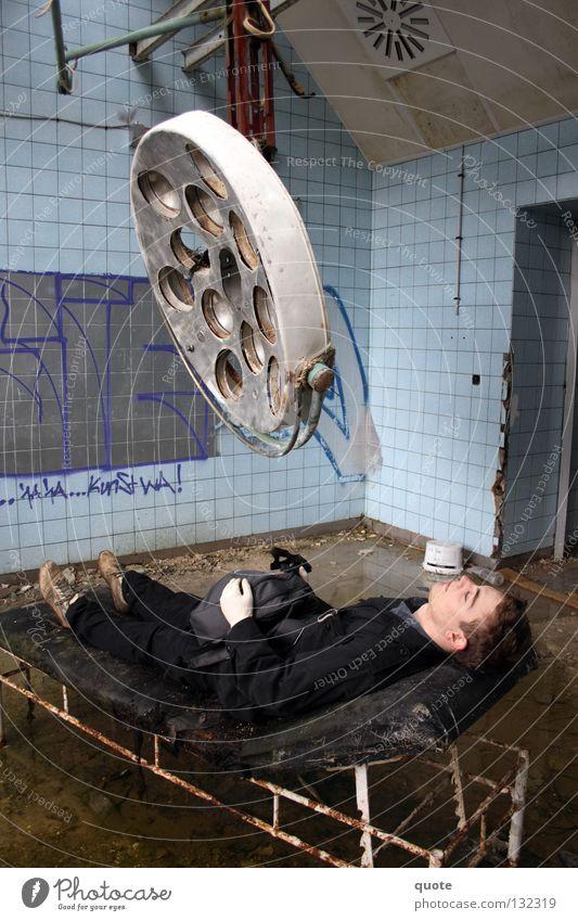 Lamp Graffiti Dirty Broken Putrefy Derelict Couch Hospital Brandenburg Destruction Gloves Backpack Surgery