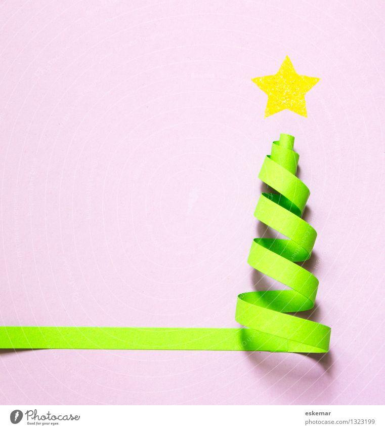 Christmas & Advent Green Paper Card Christmas tree Handicraft Self-made