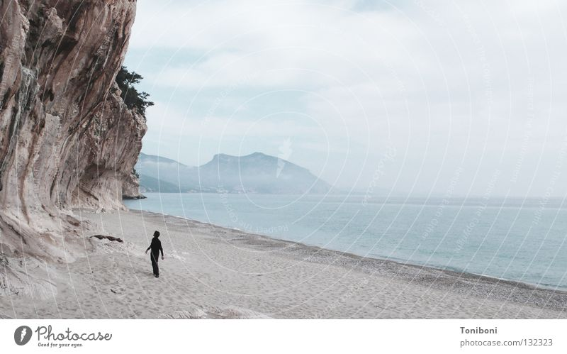 Man Nature Water Sky Ocean Beach Vacation & Travel Clouds Loneliness Sand Coast Fear Small Rock Island Italy