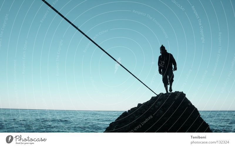 Man Sky Ocean Beach Far-off places Sports Contentment Coast Rope Rock Island Italy To fall Concentrate Brave