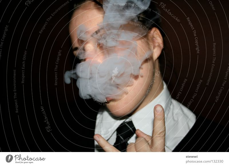 school's out II Smoking Smoke Woman Cool (slang) Dark background Cigarette smoke Inhale Gesture Copy Space left Rebellious Recklessness Provocative Challenging