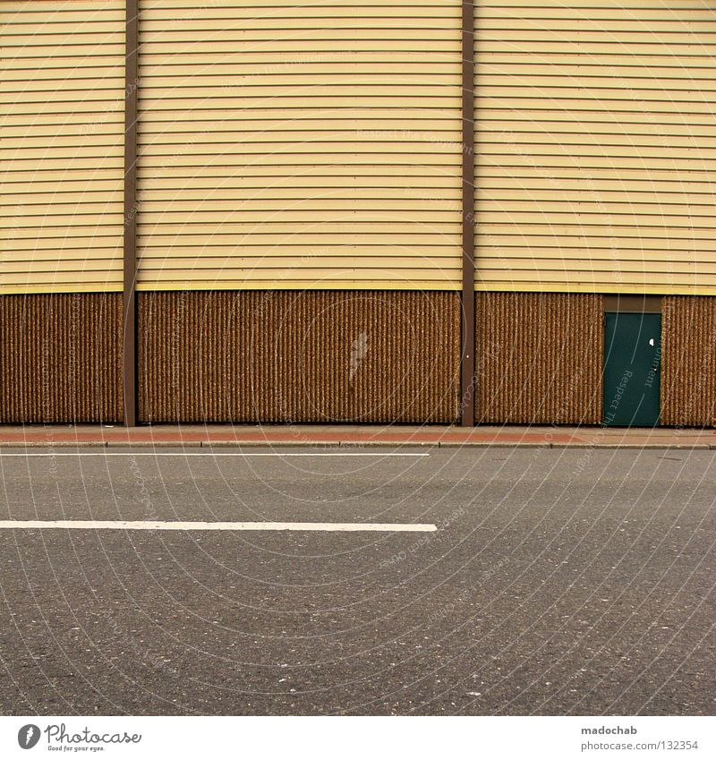 Street Wall (building) Wall (barrier) Line Door Facade Transport Empty Stripe Illustration Asphalt Traffic infrastructure Parallel Boredom Graphic Absurdity