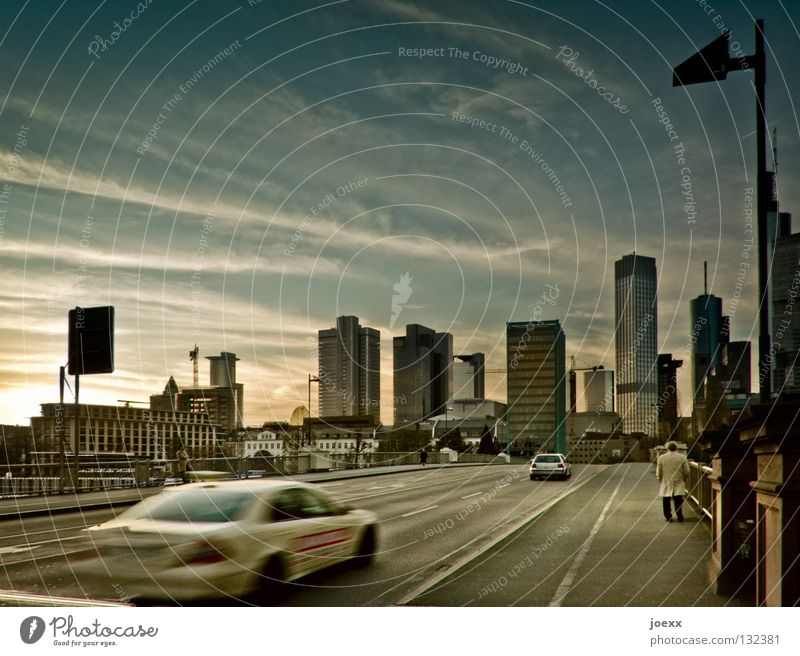 Human being Man Sky City Loneliness Street Lamp Car Walking High-rise Transport Hesse Modern To go for a walk Store premises Lantern