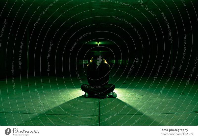Woman Human being Green Black Street Dark Dream Lamp Moody Lighting Time Room Mouth Fear Sit Wait