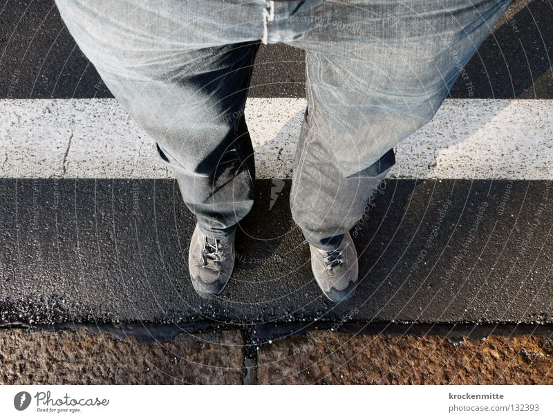 White Footwear Line Legs Wait Jeans Asphalt Pants Border Wrinkles Train station Folds Zone Exclusion zone Exceed