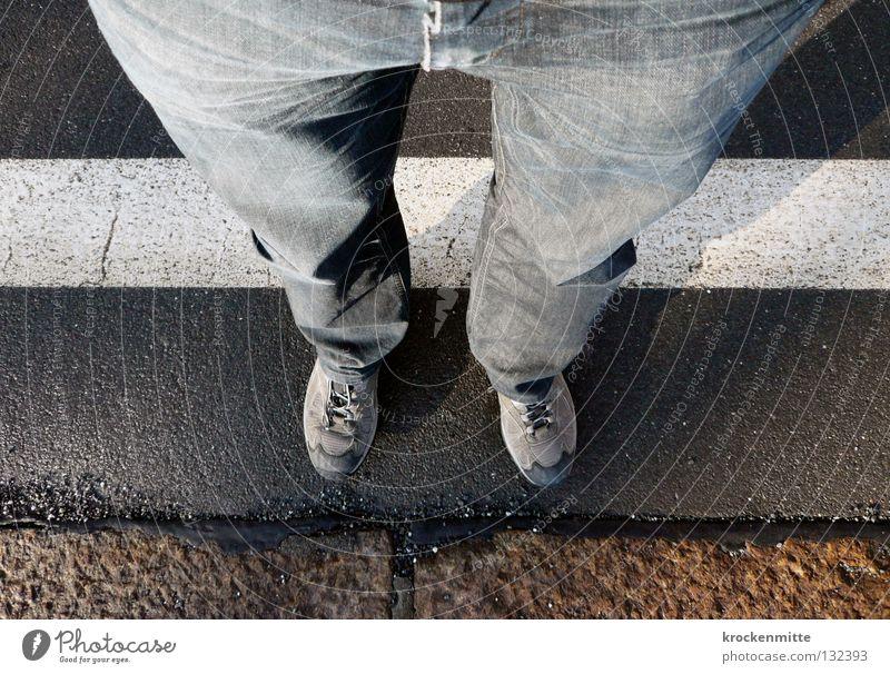 White Footwear Line Legs Wait Jeans Asphalt Pants Border Wrinkles Train station Folds Zone Exclusion zone Exceed