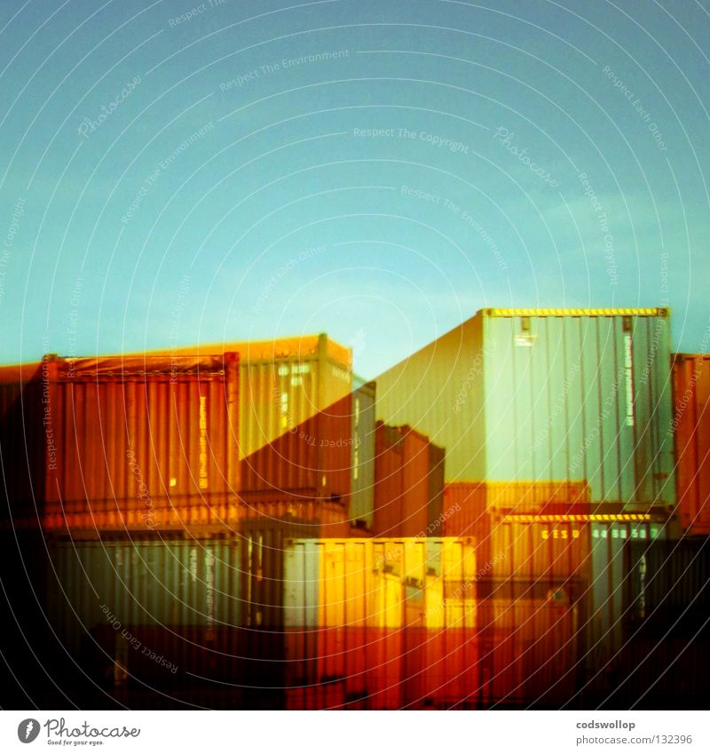 Packaging Transport Industry Logistics Harbour Services Double exposure Trade Container Carton Goods Abstract Cargo Container terminal Shipping company