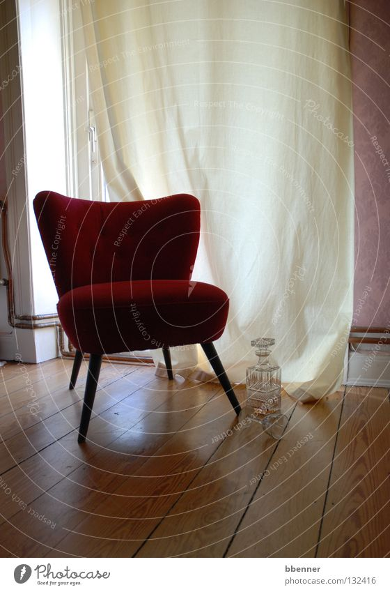 Red Loneliness Calm Window Wall (building) Wood Legs Bright Glass Wait Transience Soft Metal coil Fluid Furniture Drape